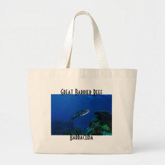 Barracuda Great Barrier Reef Coral Sea Large Tote Bag
