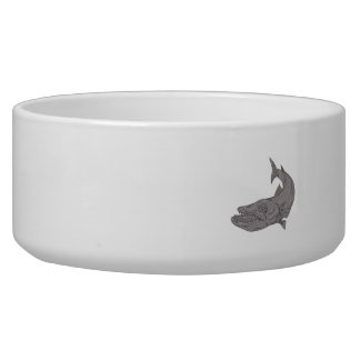 Barracuda Swimming Down Drawing Bowl