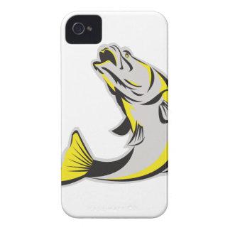 Barramundi Fish Jumping Up Isolated Retro iPhone 4 Cases
