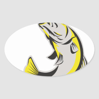 Barramundi Fish Jumping Up Isolated Retro Oval Sticker