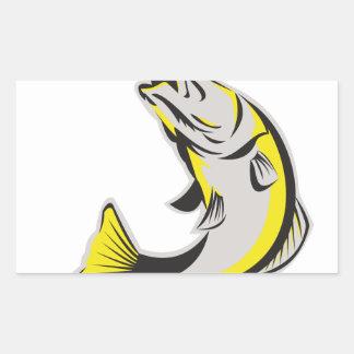Barramundi Fish Jumping Up Isolated Retro Rectangular Sticker
