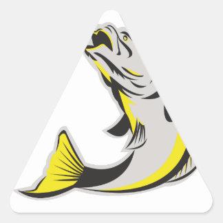 Barramundi Fish Jumping Up Isolated Retro Triangle Sticker