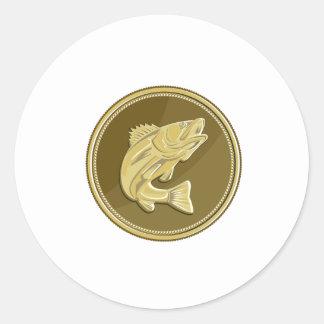 Barramundi Gold Coin Retro Classic Round Sticker