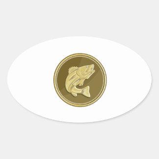 Barramundi Gold Coin Retro Oval Sticker