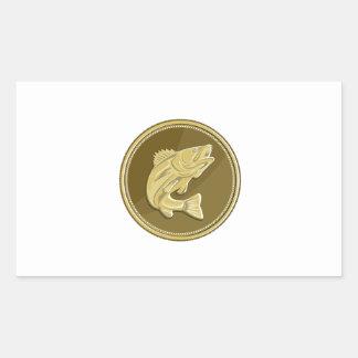 Barramundi Gold Coin Retro Rectangular Sticker