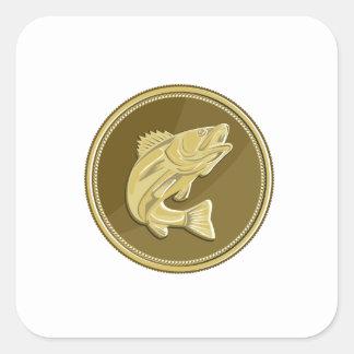 Barramundi Gold Coin Retro Square Sticker