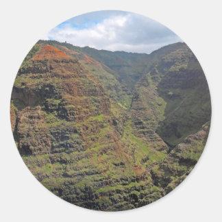 Barranco Kauai de Waiamea Pegatina Redonda