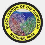 Barranco negro del parque nacional de Gunnison Pegatina Redonda