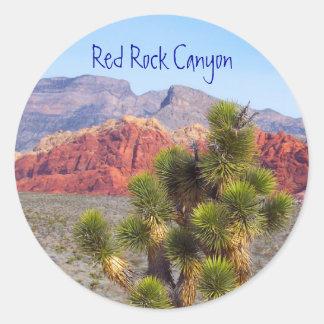 Barranco rojo de la roca pegatina redonda