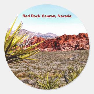 Barranco rojo de la roca, pegatinas de Nevada Pegatina Redonda