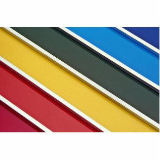 Barras de acero en el acrílico multicolor escultura fotográfica