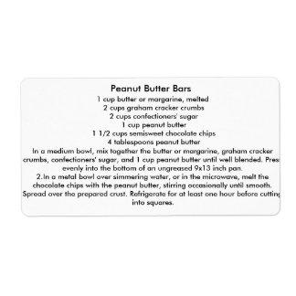 Barras de la mantequilla de cacahuete etiquetas de envío