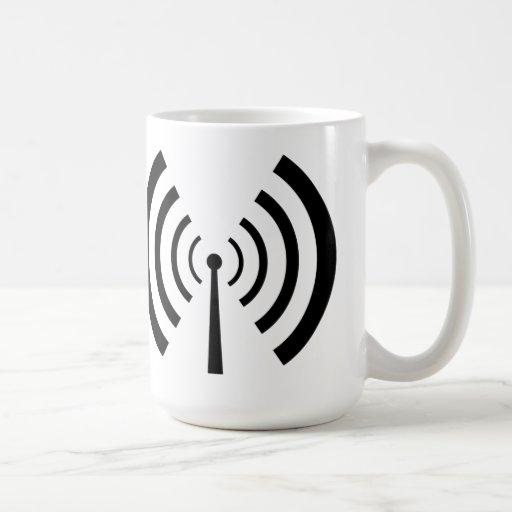 Barras de la señal de radio taza básica blanca