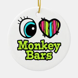 Barras de mono brillantes del amor del corazón I Adorno Redondo De Cerámica