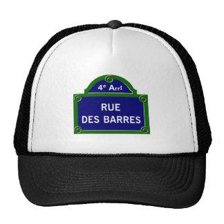 Barras del DES de la ruda, placa de calle de París Gorro