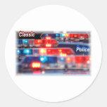 Barras ligeras de la policía pegatinas redondas
