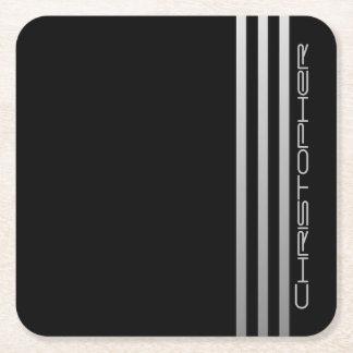 Barras triples cones monograma de la pendiente posavasos personalizable cuadrado