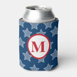 Barras y estrellas 4tas del monograma de julio enfriador de latas