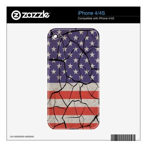 Barras y estrellas, agrietado, llevado, sucias skin para el iPhone 4S