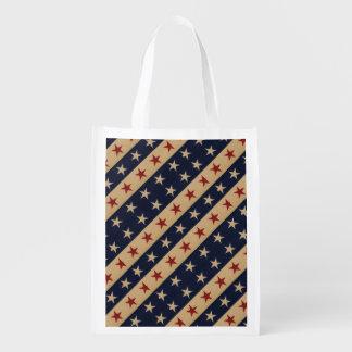Barras y estrellas americana bolsa reutilizable