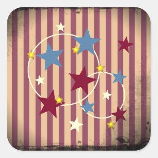 Barras y estrellas atractivas del circo del pegatina cuadrada