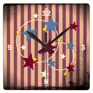Barras y estrellas atractivas del circo del vintag reloj de pared