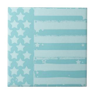 Barras y estrellas azulejo cuadrado pequeño