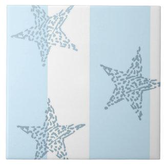 Barras y estrellas azules azulejo cuadrado grande