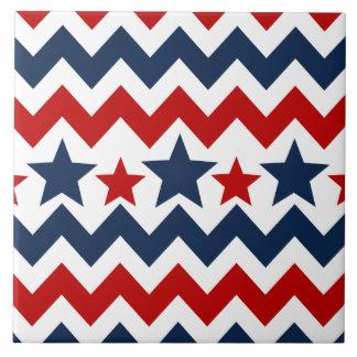 Barras y estrellas azules blancas rojas de Chevron Azulejo Cuadrado Grande