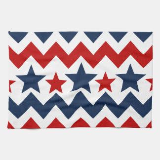 Barras y estrellas azules blancas rojas de Chevron Toalla De Mano
