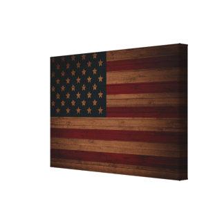 Barras y estrellas (bandera de madera de los E.E.U Lienzo Envuelto Para Galerias