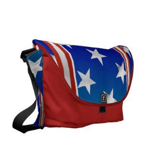 Barras y estrellas blancas y azules rojas bolsas de mensajeria