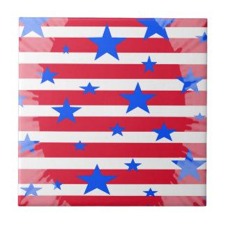 Barras y estrellas blancas y azules rojas de los E Azulejo Cuadrado Pequeño
