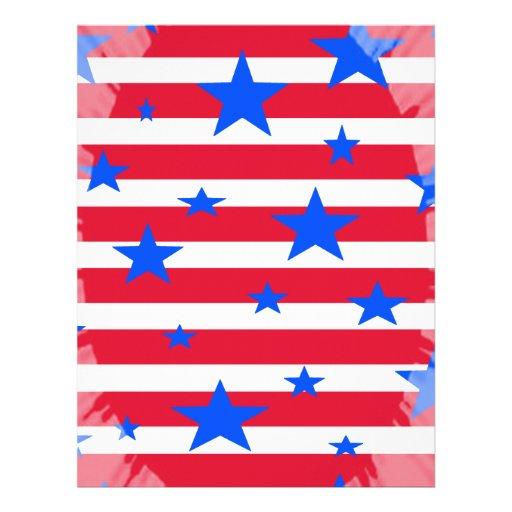 Barras y estrellas blancas y azules rojas de los E Membrete Personalizado