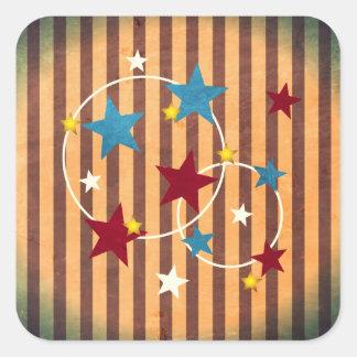 Barras y estrellas brillantes del circo del pegatina cuadrada
