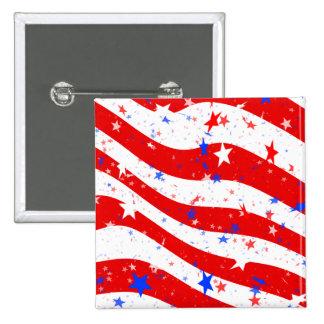 Barras y estrellas curvadas Día de la Independenci Pin Cuadrado