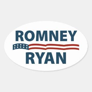 Barras y estrellas de Romney Ryan Pegatina Ovalada