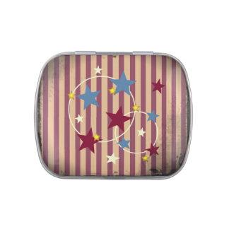 Barras y estrellas del circo del vintage latas de dulces