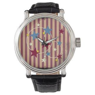 Barras y estrellas del circo del vintage reloj de mano