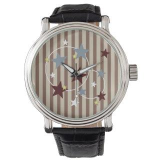 Barras y estrellas del circo del vintage relojes de mano