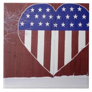 Barras y estrellas en forma de corazón azulejo cuadrado grande