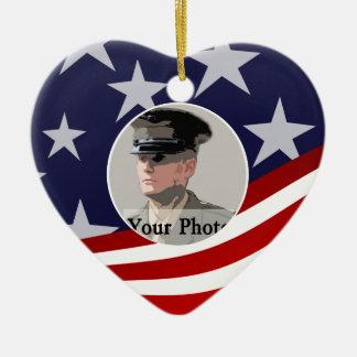 Barras y estrellas los E.E.U.U./rezo militar Adorno Navideño De Cerámica En Forma De Corazón