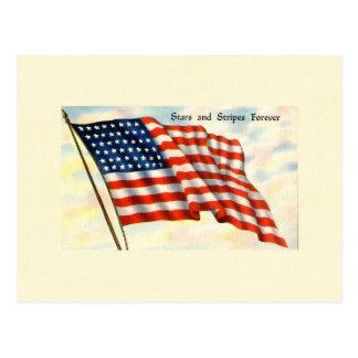 Barras y estrellas para siempre bandera del 4 de postal