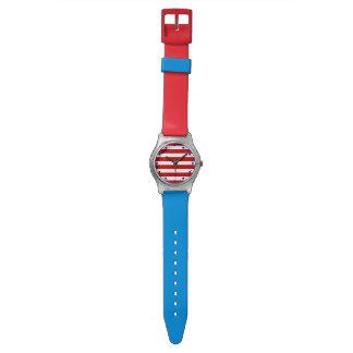 Barras y estrellas patrióticas azules blancas relojes de mano
