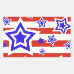 Barras y estrellas patrióticas pegatina rectangular