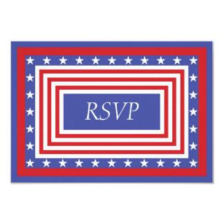 """Barras y estrellas patrióticas RSVP Invitación 3.5"""" X 5"""""""