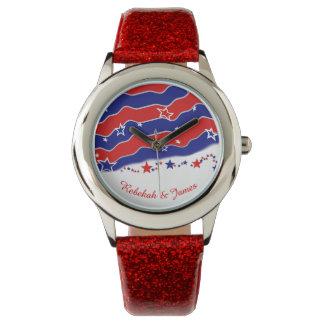 Barras y estrellas personalizadas reloj