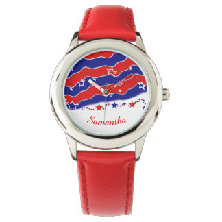 Barras y estrellas personalizadas reloj de mano
