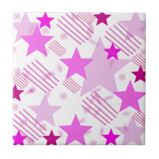 Barras y estrellas rosadas azulejo cuadrado pequeño