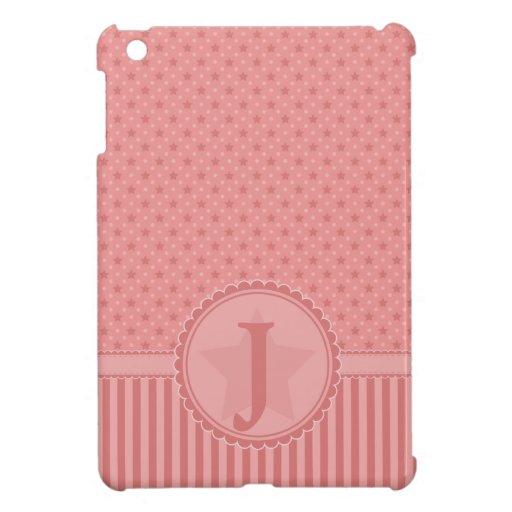 Barras y estrellas rosadas cones monograma iPad mini carcasa